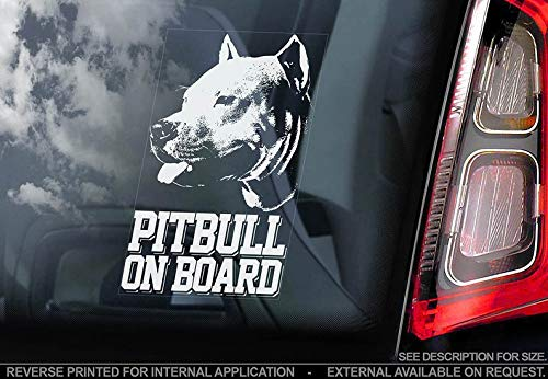 (CELYCASY Pitbull on Board - Car Window Sticker - Cropped Pit Bull Terrier Dog Sign Decal - V02)