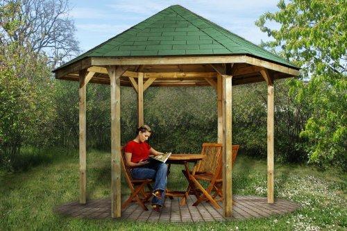 Gartenlaube 656 - Ausführung: Gr. 1, Variante: ohne Dachschindeln, Schindelbedarf: 7 Pkt, Bemaßung: Firsthöhe 295 cm, Traufhöhe 208 cm
