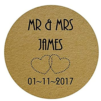 Round personalised wedding engagement party favour labels stickers floral bird shabby chic design