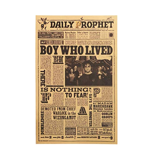 Harry Border Potter - Classic Movie Kraft Paper Poster Harry Potter Daily Prophet Wall Sticker Bar Cafe Decorative Painting 42X27cm