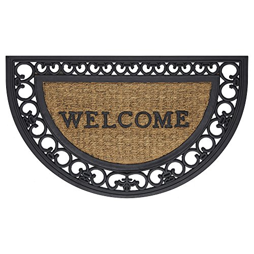 Achim Home Furnishings WRM1830FS6 Fleur De Lis Slice Wrought Iron Rubber Door Mat, 18 by 30