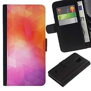 LECELL--Cuero de la tarjeta la carpeta del tirón Smartphone Slots Protección Holder For Samsung Galaxy S5 Mini, SM-G800 -- Geometría de neón --