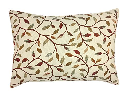 YOUR SMILE Farmhouse Oblong Rectangle Floral Chenille Embroidery Decorative Throw Pillow Case Cushion Cover Lumbar Pillowcase for Sofa 12 x 20 Inch , Brown Leaves