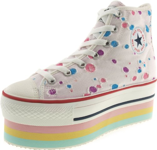 Maxstar Polka Dots High-top Double Platform Canvas Sneakers Shoes