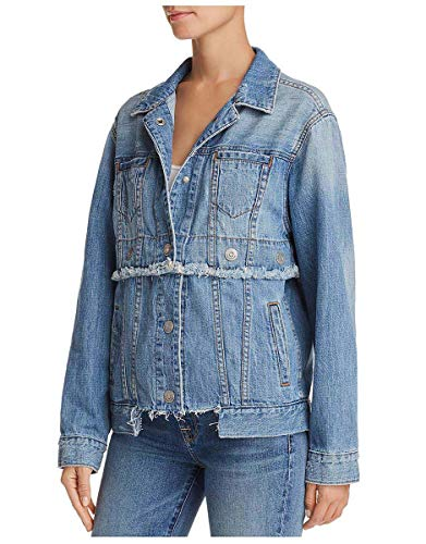 True Religion Women's Trucker Jacket Grommeted Snap Jacket-Derby Blue-Small