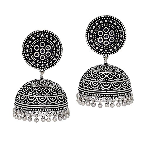 Oxidized Silver Jewellery - Jaipur Mart Oxidised Plated Jhumka Earrings Silver Jewellery Gift For Women