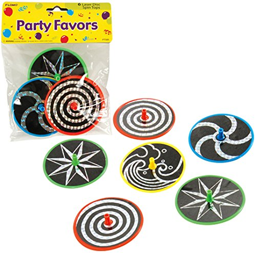 Laser Disc Spinner Tops - Party Favor 6 count Case Pack 48 by FLOMO