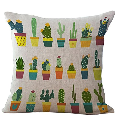 Party Pillowcase - Throw Pillow Cases,Woaills 18 x 18 Fruit Cactus Simple Square Pillowcase Cushion Covers with Hidden Zipper (Colorful E)