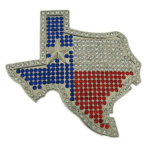The Big State of Texas US Belt Buckle Rodeo Western Unisex Rhinestone Map Metal from buckleszone