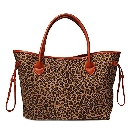 Oversized Women Canvas Casual Tote Bag Leopard Cheetah Print Handbag with Faux Leather Handle (Light Brown)