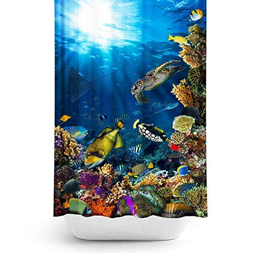 ABL Cool Aquarium graphics Shower Curtain Set Digitally printed on Water Repellent Quick Drying Odorless amp Safe No Harfmul Dye Fabric Perfect for Standard bathroom shower liner and rod Size 71x71