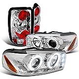 05 denali halo headlights - Gmc Yukon Denali Chrome Halo Led Projector Headlights, Clear Altezza Tail Lights
