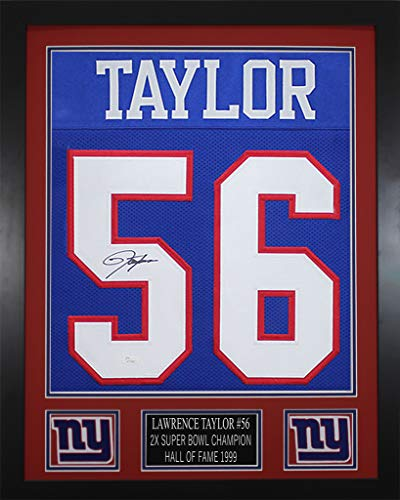 (Lawrence Taylor Autographed Blue Giants Jersey - Beautifully Matted and Framed - Hand Signed By Lawrence Taylor and Certified Authentic by JSA - Includes Certificate of Authenticity)
