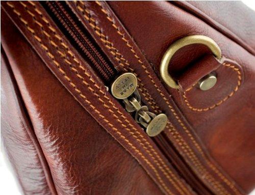 Sac de voyage-Sac à main en cuir pellevera Sac à dos fabriqué en Italie, 47x 21x 27cm, marron