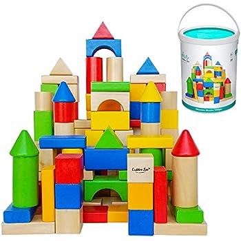 Amazoncom Wooden Blocks 100 Pc Wood Building Block Set With
