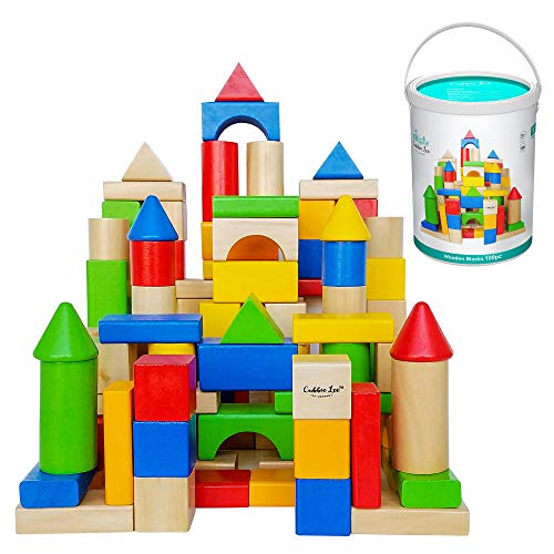 Cubbie Lee Premium Wooden Building Blocks Set - 100 pc for Toddlers Preschool Age - Classic Hardwood Plain & Colored Small Wood Block Pieces for Boys & Girls - Classic Build & Play Toy ()