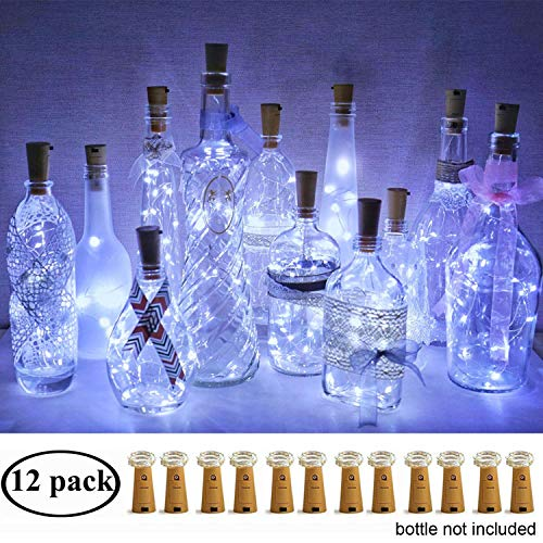 Decem Wine Bottle Lights with Cork 12 Pcs 15 LEDs Warm White Cork Shape Silver Copper Wire Battery Powered LED Fairy String Lights for DIY/Decor/Party/Wedding/Christmas/Halloween (Cool White)]()