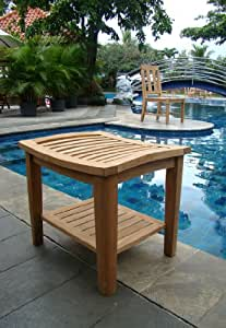 Grade A Teak Wood Shower / Bath Room / Pool / Spa Stool Bench with Shelf