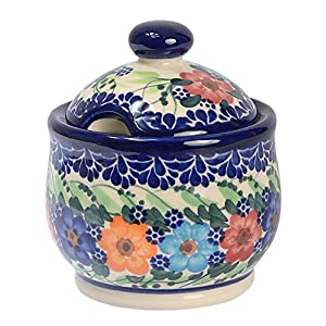 Traditional Polish Pottery, Handcrafted Ceramic Lidded Sugar Bowl with a Spoon Slot (290ml / 10 fl oz), Boleslawiec Style Pattern, C.102.GARLAND