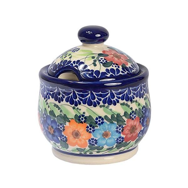 Traditional Polish Pottery, Handcrafted Ceramic Lidded Sugar Bowl with a Spoon Slot (290ml / 10 fl oz), Boleslawiec Style Pattern, C.102.GARLAND