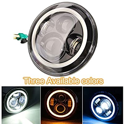 Ehotchpotch 7 Inch 45W LED Headlights with Halo Angel Eyes & DRL & Turn Signal Lights for Jeep Cj-7 CJ-8 Wrangler TJ JK Hummer H1 H2 Harley Davidson Motorcycle, Mercesdes Benz G, Land Rover Defender and Other Vehicle 2 PCS