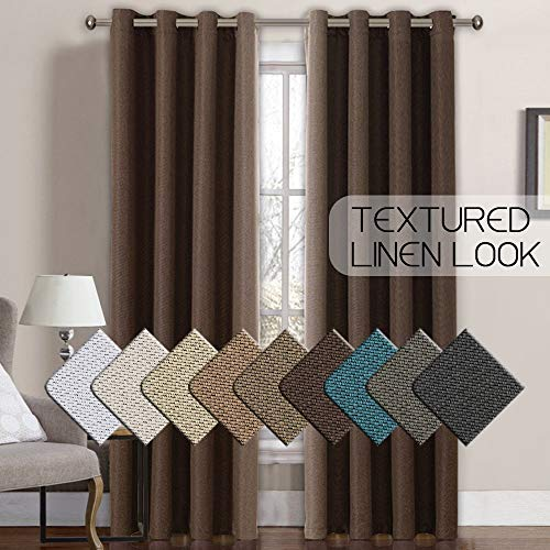 Linen Curtains Blackout Curtains 108 for Patio Doors/Sliding Door, Room Darkening Linen Curtains 108...