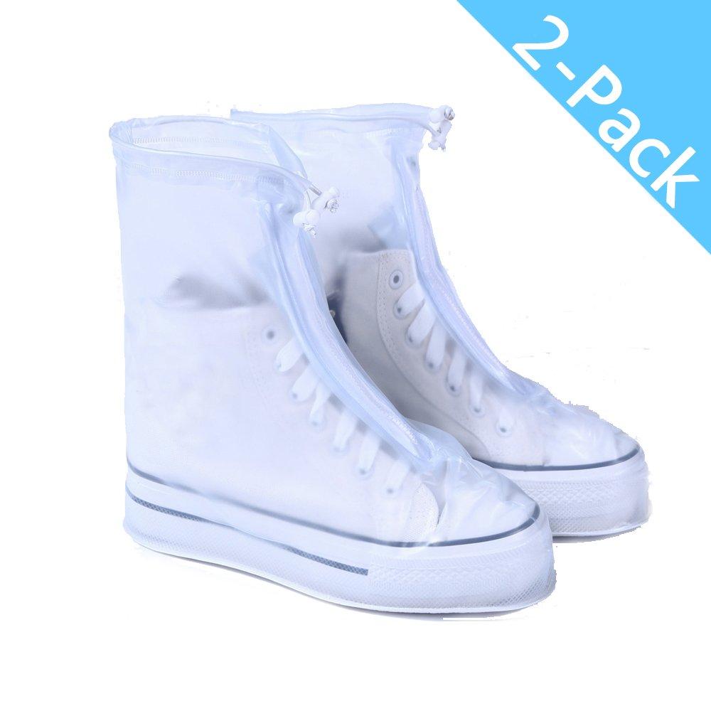 Longess Reusable Waterproof Overshoes Shoe Covers Protector Men/Women's/Children Rain Cover for Shoes Accessories (2 Pack-XL)