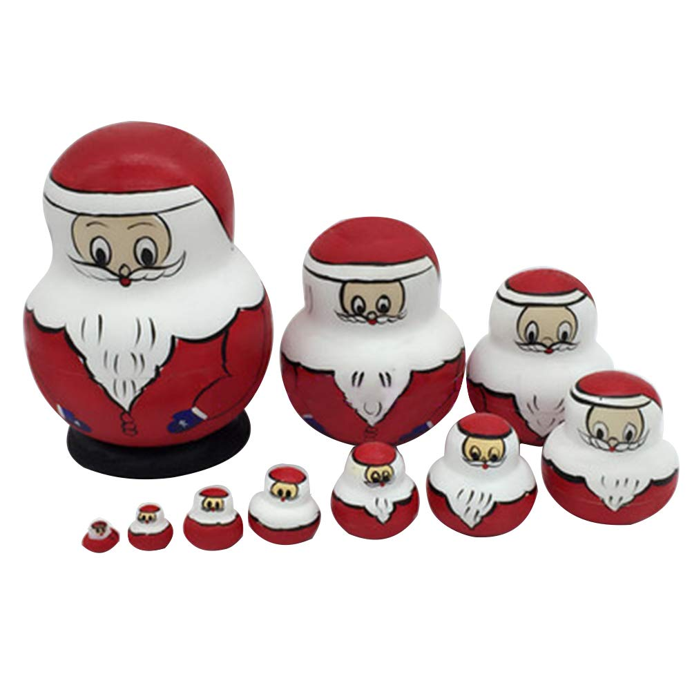 10PCS Santa Claus Snowman Russia Nesting Dolls Puzzle Wooden Toys Gift Home Decor by Toyvian