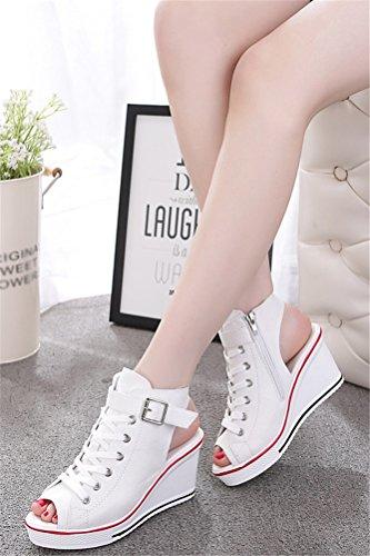 Sandali Con Zeppa Donna, Sneakers In Canvas Piattaforma Casual Estiva Peep-toe 4 Colori Bianco