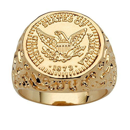 Men's 14k Gold-Plated American Eagle Coin Replica Nugget-Style (Eagle Coin Ring)