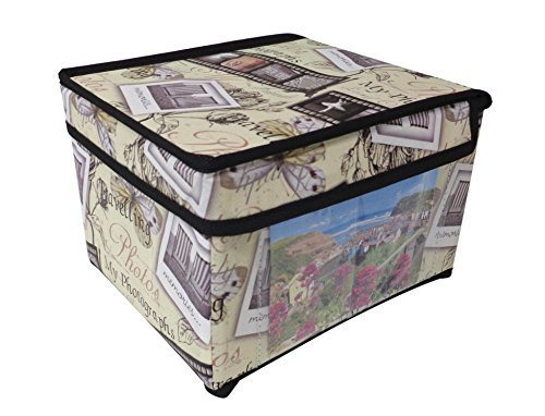 Cream Retro Vintage Design Photo Picture Storage Chest Box Trunk Fold Flat Beamfeature