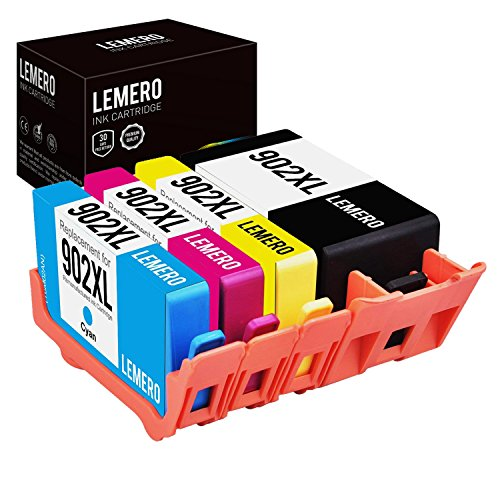 Lemero Remanufactured Ink Cartridge Replacement for HP 902XL ( Black - Cyan - Magenta - Yellow - 4-Pack )
