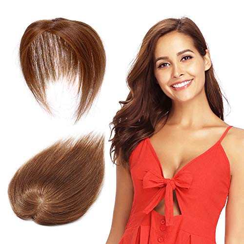 Remy Human Hair Silk Base Top Hairpieces Replacement Clip in Topper For Women Crown Top Piece Short 10