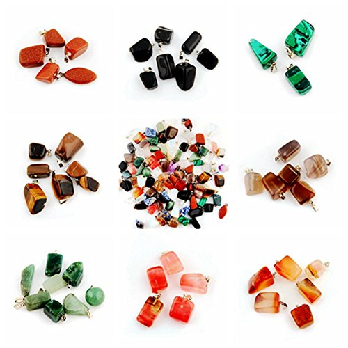 Healing Stones Pendants Irregular Healing Crystal chakra Gemstone Point Wholesale Quartz Rock Quartz Charms Pendants for Necklace Jewelry Making (100pcs)