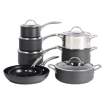 ProCook Professional Anodised Juego de cocina, aluminio anodizado, negro, 8 piezas: Amazon.es: Hogar