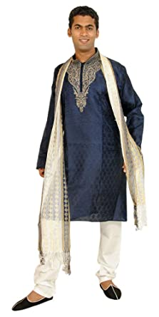 0dcc00a235 Amazon.com: Apparelsonline Blue Designer Men Kurta Set Sherwani Indian  Wedding Party Wear: Clothing
