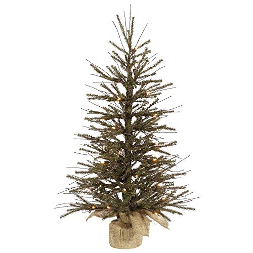 Vickerman 4' Vienna Twig Artificial Christmas Tree with Burlap Base - Clear Dura-Lit Lights
