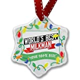 Personalized Name Christmas Ornament, Worlds Best Milkman NEONBLOND