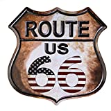 dojune-Route 66 American Flag Novelty Highway Vintage Retro Wall Décor Shield Metal tin Sign