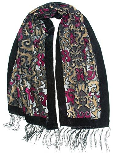 Bohomonde, Gia Scarf - Silk Brocade Print Velvet Burnout Scarf with Fringe Ends (Orchid/Gold/Black)