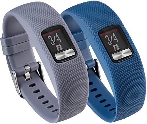 Vivofit 4 Sport Bands Large/SmallTenCloud 2 in 1 Bundle Adjustable Replacement Silicone Wrist Band w/Hardware Buckle for Garmin vivofit 4 Tracker (GrayDark Blue Small (4.7 in-7.5 in))