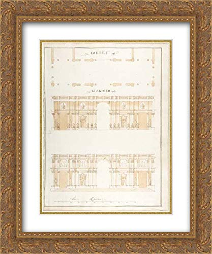 Pietro Paolo Coccetti (Cocchetti) - 28x36 Gold Ornate Frame and Double Matted Museum Art Print - Plan, Section and Exterior Elevation of a ()