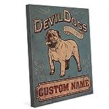 Devil Dogs English Bulldog Pub Sign Blue Distressed Customizable Wall Art Print