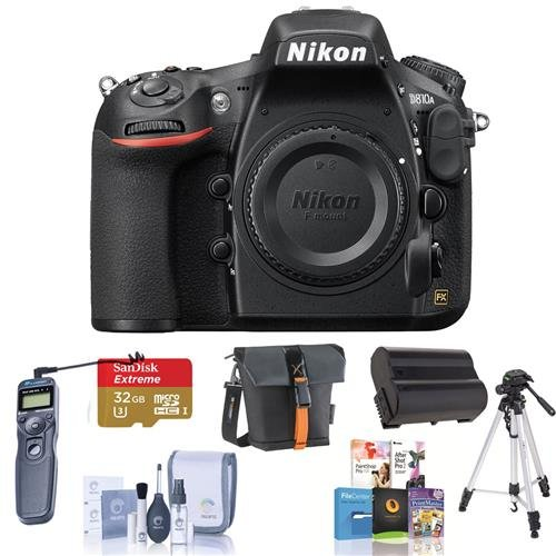Nikon D810A DSLR Camera Body with IR-Cut Filter, - Bundle with 32GB Class 10 SDHC Card, Spare EN-EL15 Battery, Camera Bag, Pro Tripod, Remote Shutter Trigger, Pro Software Package