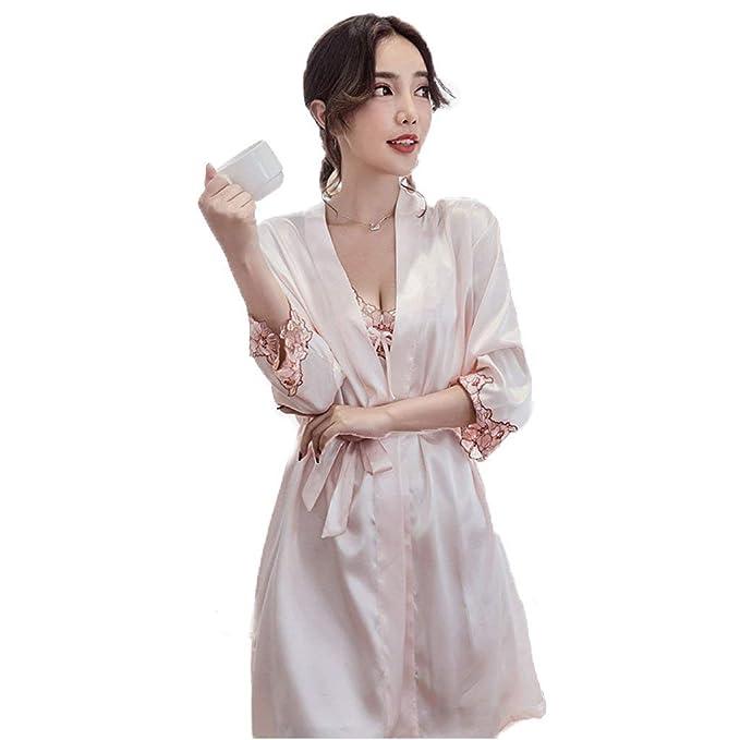 Albornoz Mujer Otoño Moda Pijamas Mujer Splice Encaje con Cinturón Señora Camisón Vestido V-Cuello Manga Largo Batas: Amazon.es: Ropa y accesorios