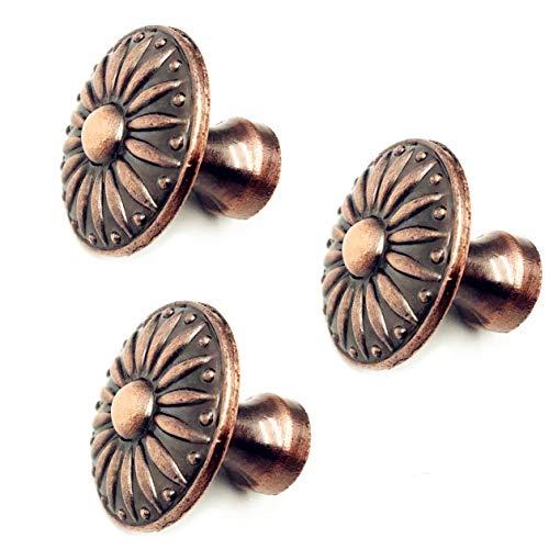 (XMHF Vintage Round Zinc Alloy Door Knob Drawer Pull Cupboard Wardrobe Cabinet Handle Red Copper 3Pcs)