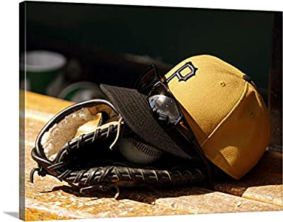 """Pittsburgh Pirates hat Ball Glove - Canvas Wall Art Gallery Wrapped Ready to Hang - 30""""x23"""""""