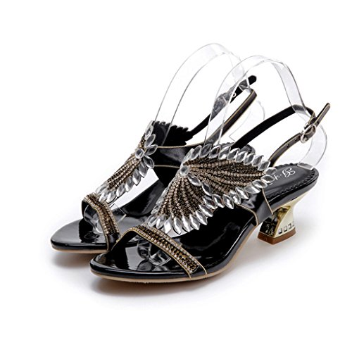 Doris Womens Evening Wedding Dress Shoes Glitter Rhinestone Floral Heels Sandals Summer Fashion Slippers Black