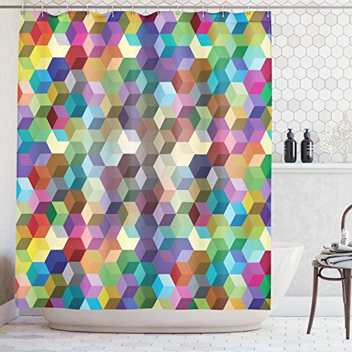 Ambesonne Abstract Home Decor Collection, Color Cubes Mosaic Party Festive Theme Modern Fun Geometric Artwork, Polyester Fabric Bathroom Shower Curtain Set with Hooks, Olive Blue Purple Teal