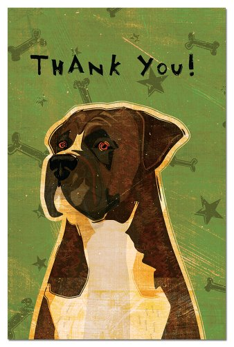 Tree-Free Greetings Eco-Notes Thank You Card Set, 4 x 6 Inches, 12-count Cards with Envelopes, Brindle Boxer (93034) ()